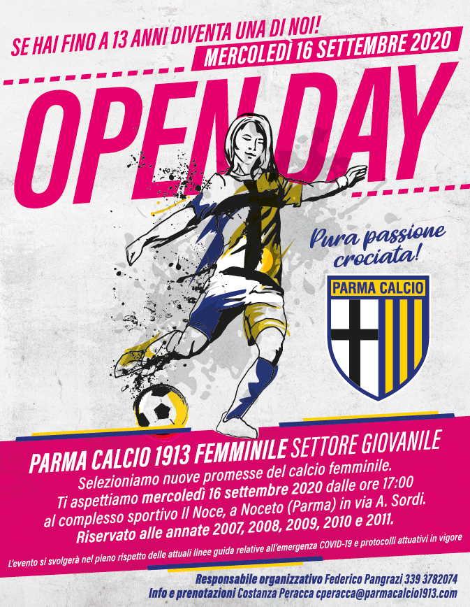 locandina web open day parma femminile 2020 21